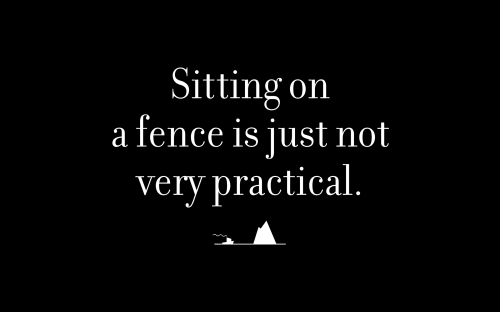 Sitting on a fence is just not very practical.